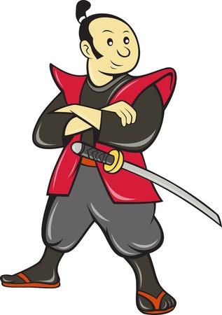 samourai: illustration d'un guerrier samouraï japonais avec l'épée fait dans le style bande dessinée sur fond blanc isolé.