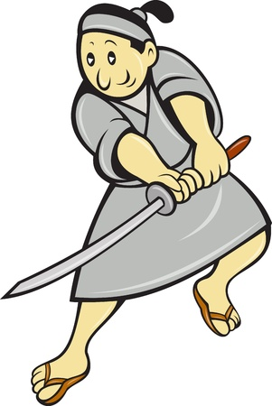 cartoon warrior: illustration of a Japanese samurai warrior with sword done in cartoon style on isolated white background.
