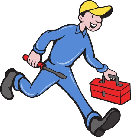 illustration of an electrician tradesman handyman mechanic walking with screwdriver and tool box done in cartoon style. illustration