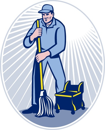 janitorial: illustration of a cleaner janitor cleaning floor with mop viewed from front set inside ellipse done in retro woodcut style.