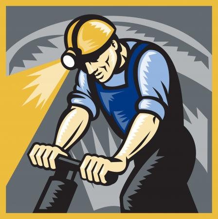 coal mine: illustration of a coal miner working drilling with pneumatic drill in mine shaft done in retro woodcut style.