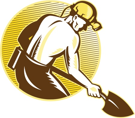 ilustración de un minero de carbón de trabajo con la pala se ve desde el lado del conjunto dentro de círculo sobre fondo blanco aisladas hecho en estilo retro grabado en madera.