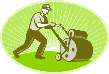 groundskeeper: illustration of a groundsman groundskeeper landscaper pushing a lawn roller done in retro woodcut style set inside an ellipse.  Stock Photo