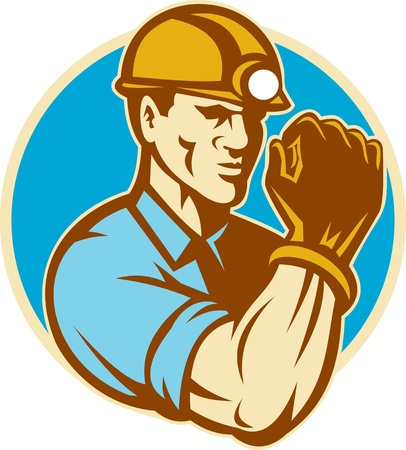 illustration of a coal miner with clenched fist viewed from the front set inside circle done in retro style on isolated background.  Imagens