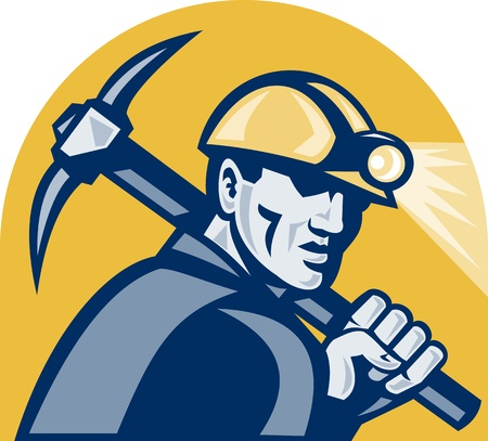 miner: illustration of a coal miner working with pickaxe viewed from the side looking front isolated white background done in retro woodcut style.  Stock Photo