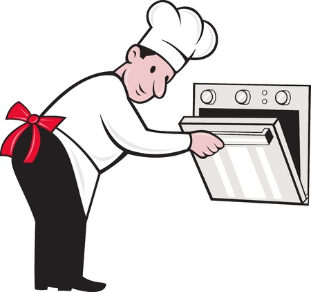 chef caricatura: Ilustraci�n de un cocinero de dibujos animados chef de panader�a de abrir un horno en el fondo blanco aislado.