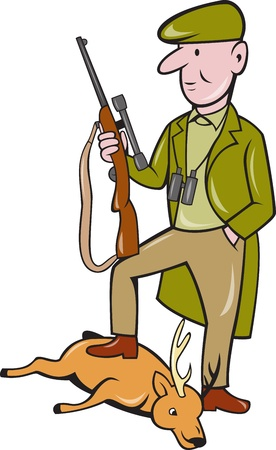 hunter man: Illustration of a cartoon hunter with rifle standing on dead deer on isolated white background. Stock Photo