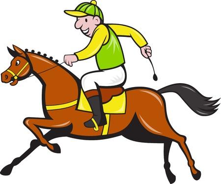 cavallo in corsa: Illustrazione di un cartone animato cavallo e fantino da corsa equestre visto dal lato.