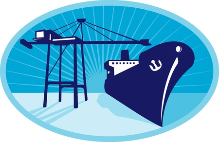 Illustration of a container boom crane loading a ship boat vessel in the docks set inside ellipse done in retro style.  Vector