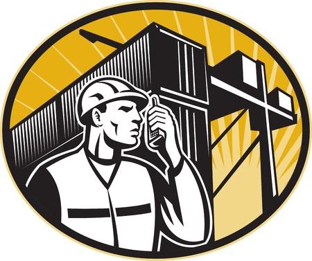 Ilustracja pracownika stacji dokującej, rozmawia przez telefon z pojemnika furgonetki i suwnicą wykonanej w stylu retro. Ilustracje wektorowe