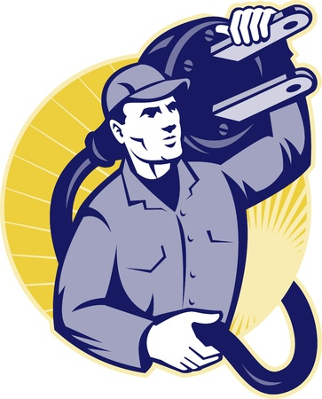 Illustration of an electrician worker carrying an electric plug set inside circle done in retro style.