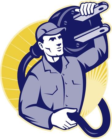 enchufe: Ilustración de un trabajador electricista que lleva un enchufe eléctrico creado dentro del círculo hecho en estilo retro. Vectores