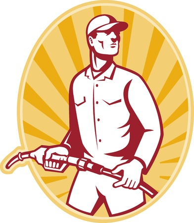 attendant: illustration of a gas jockey gasoline attendant standing holding a fuel pump nozzle set inside ellipse done in retro style. Illustration