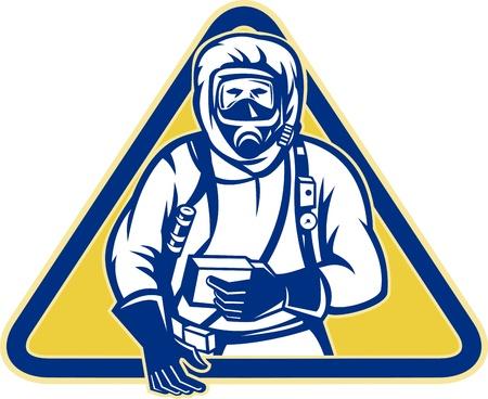 hazardous: Illustrazione di un lavoratore che indossa un abito pericolosa sostanza chimica HAZCHEM fronte anteriore trova all'interno triangolo. Vettoriali