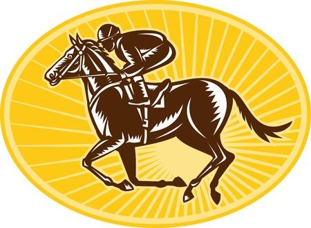 carreras de caballos: Ilustraci�n de un caballo y un jinete de carreras ecuestres visto desde el lado hecho en estilo retro grabado en madera.
