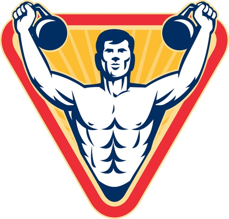 Illustration of a muscle male exercising using kettlebell on isolated background.  Vector