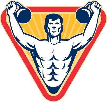 weights: Illustrazione di un maschio muscolo esercita con kettlebell su sfondo isolato.