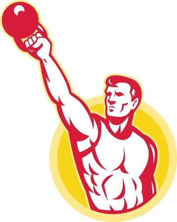Illustrazione di un maschio muscolo esercita con kettlebell su sfondo isolato. Vettoriali
