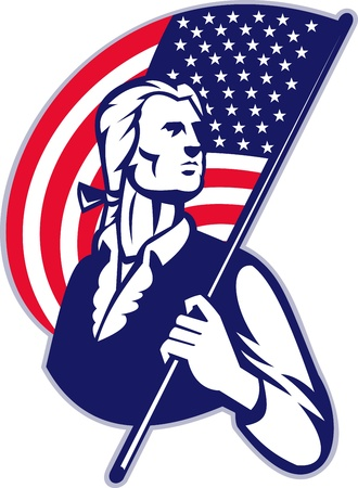 Illustration of a patriot minuteman revolutionary soldier holding an American stars and stripes flag on isolated background.  Vector