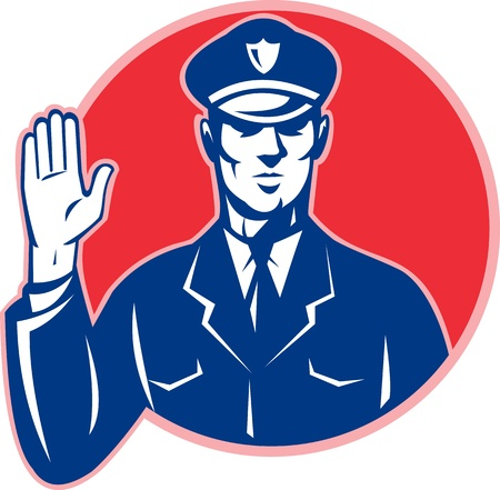 Illustration of a police officer policeman with hand signal stop set inside circle done in retro style.  Vector