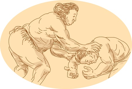wrestler: Hand drawn and sketched illustration of two sumo wrestlers wrestling viewed from the side set inside ellipse.