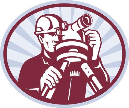 Ilustracja inspektorów geodezyjnej pracownika inżyniera budownictwa z teodolit całkowitego wyposażenia stacji ustawić wewnątrz elipsy z sunburst wykonanej w stylu retro drzeworyt,