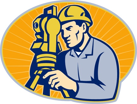 Illustration of surveyor civil geodetic engineer worker with theodolite total station equipment set inside ellipse with sunburst done in retro woodcut style,  Vector