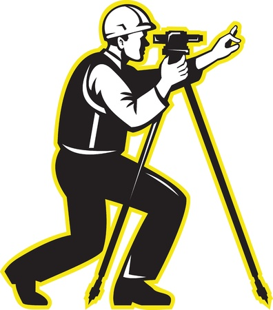 Illustration of surveyor civil geodetic engineer worker with theodolite total station equipment done in retro woodcut style.