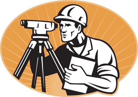 geodesy: Illustration of surveyor civil geodetic engineer worker with theodolite total station equipment set inside ellipse with sunburst done in retro woodcut style,