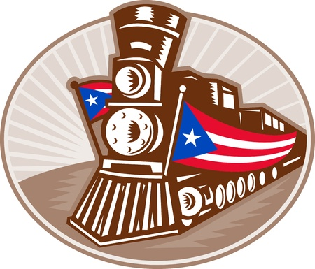 Illustration of a steam train locomotive with American stars and stripes flag dome in retro woodcut style.