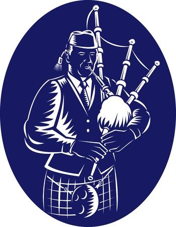 gaita: Ilustración de un gaitero tocando gaitas Highlands hecho en estilo retro grabado lado que mira hacia el interior de configurar elipse. Vectores