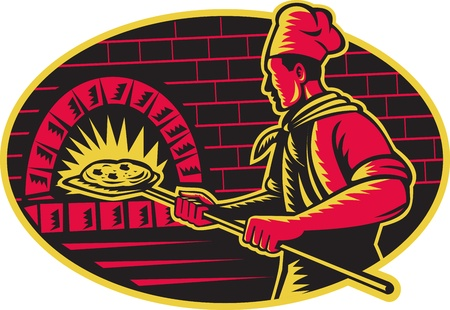Illustration of a baker with long handled bread pan baking pizza into wood fire oven done in retro woodcut style set inside ellipse.