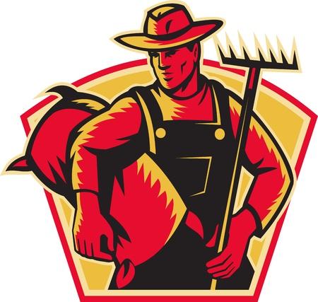 granjero: Ilustraci�n de un sombrero de campesino trabajador agr�cola usar con un rastrillo y un saco de semillas de frente realizado en estilo retro grabado en madera. Vectores