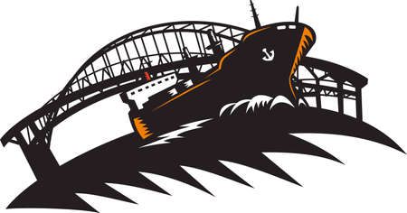 freighter: Illustration of a cargo freighter container ship at sea with bridge in the background done in retro woodcut style.  Illustration