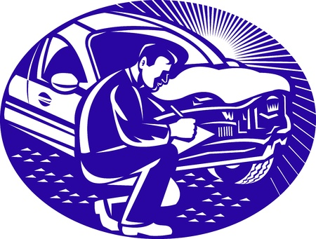 adjuster: Illustration of  insurance adjuster with clipboard taking notes on car collision set inside ellipse done in retro woodcut style.