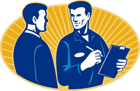 adjuster: Illustration of a mechanic insurance adjuster with clipboard talking to a client set inside ellipse done in retro style.