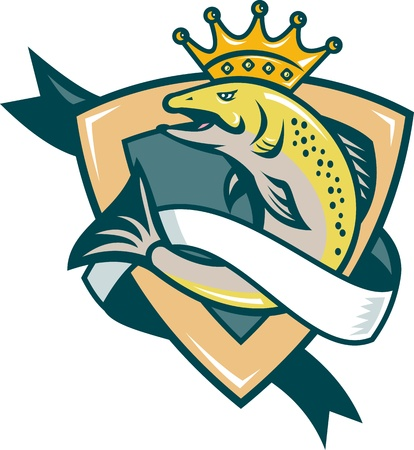 Illustration of a king salmon fish with crown jumping with shield and scroll in background done in retro style.