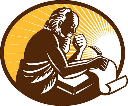 friar: Illustration of an St. Jerome old male saint writing using quill pen on paper scroll viewed from side done in retro woodcut style.  Illustration