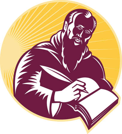 quill pen: Illustration of an St. Jerome old male saint writing using quill pen on paper scroll viewed from side done in retro woodcut style.  Illustration