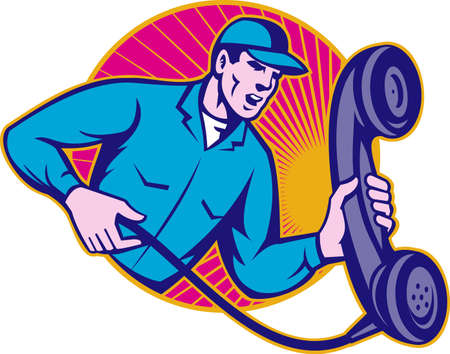 laborers: Illustration of a telephone repairman worker wearing hat holding a big retro corded phone done in retro style set inside circle.