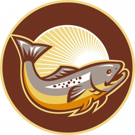 Illustration of a trout fish jumping set inside circle with sunburst in background done in retro style.