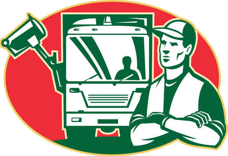 Illustration of a garbage man collector with arms crossed and rubbish side loader truck in background set inside ellipse done in retro style.