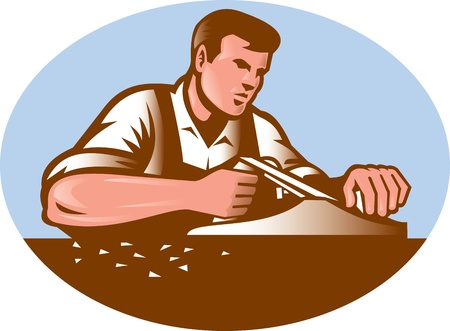woodcut: Illustration of a carpenter working with smooth plane done in retro woodcut style set inside ellipse.