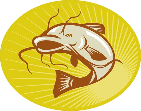 Illustration of a catfish jumping done in retro woodcut style with sunburst set inside ellipse. Illustration