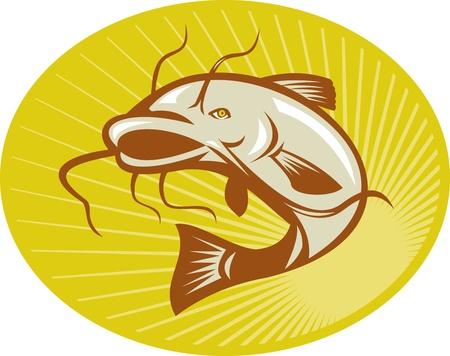 catfish: Ilustraci�n de un pez gato saltando hecho en estilo retro con rayos de sol grabado en madera conjunto dentro de elipse. Vectores