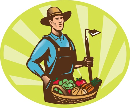 Illustration of a farmer holding a garden hoe wearing hat with basket full of vegetable fruit crop harvest done in retro woodcut style. Vector