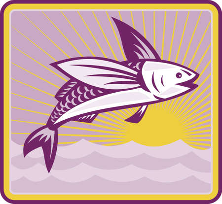Illustration of a flying fish jumping with sea ocean and sunburst in background set inside square done in retro style. Stock Vector - 12482227