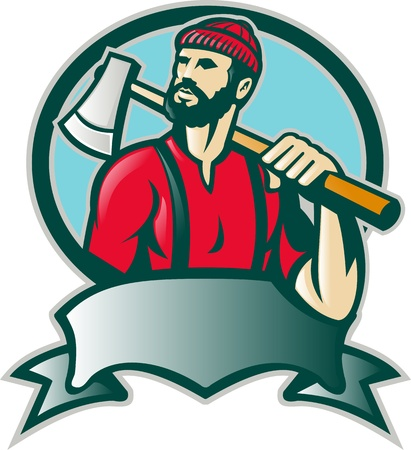 logging: Illustration of a lumber jack forester logger carrying an ax looking up with scroll done in retro style.