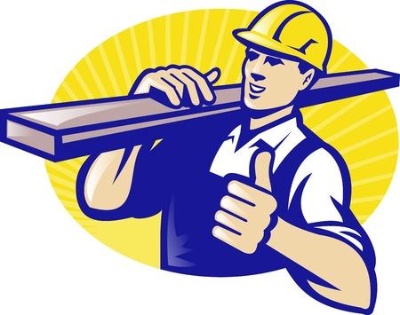 Illustratie van een timmerman houtwerf werknemer die houten plank hout met thumbs up gedaan in retro-stijl