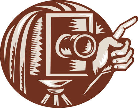 bellow: Illustration of a vintage bellow camera with hand pointing done in retro woodcut style set inside circle